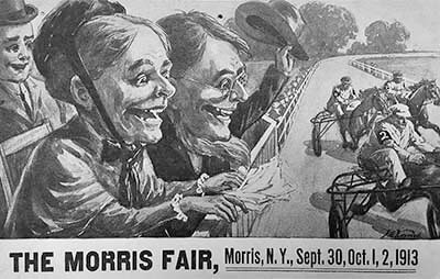 Flyer for the fair. A couple watching a race